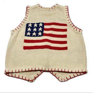 •-. Vtg Patriotic Flag 4th July Sweater Vest